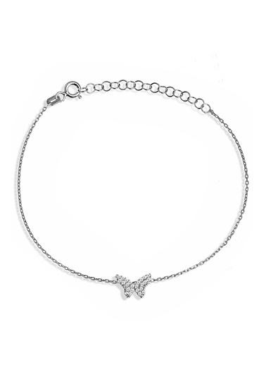 Argentum Concept Zirkon Taşlı Gümüş Kelebek Bileklik - B054301 Gümüş